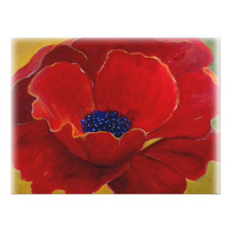 Big Red Floral Poster Photo