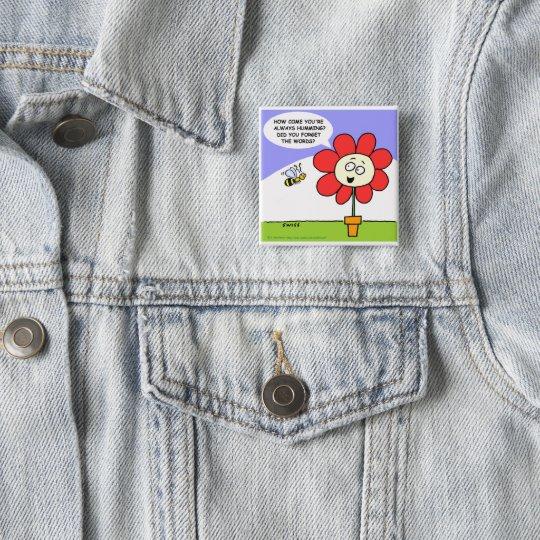 Big Red Flower & Musical Bee Cartoon Button