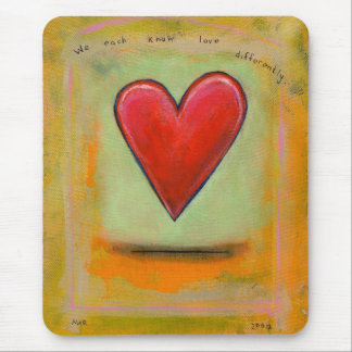 Big red heart colorful art unique Love Differently Mouse Pad
