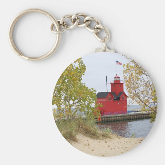 Big Red Lighthouse Basic Round Button Key Ring
