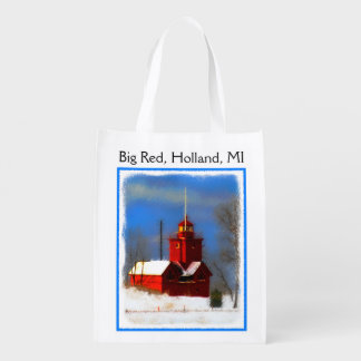 Big Red Lighthouse, Holland, MI Reusable Grocery Bag