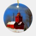 Big Red Lighthouse Painting - Original Art Christmas Ornament