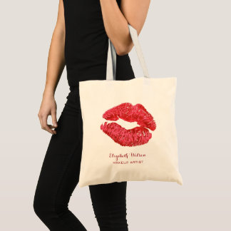 big red lipstick kiss makeup artist tote bag