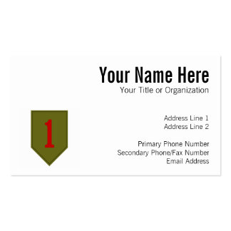 Big Red One, 1st ID Patch Pack Of Standard Business Cards