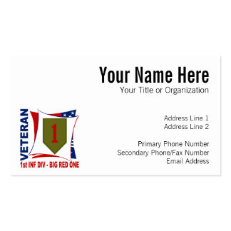Big Red One Vet Pack Of Standard Business Cards