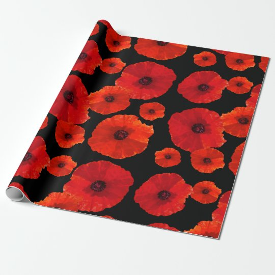 Big Red Poppies on Black Wrapping Paper