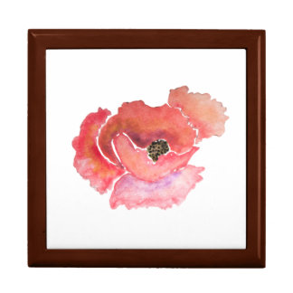 Big Red Poppy Flower Watercolor Gift Box