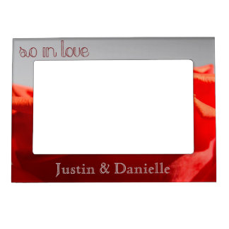 Big red romantic rose magnetic picture frame