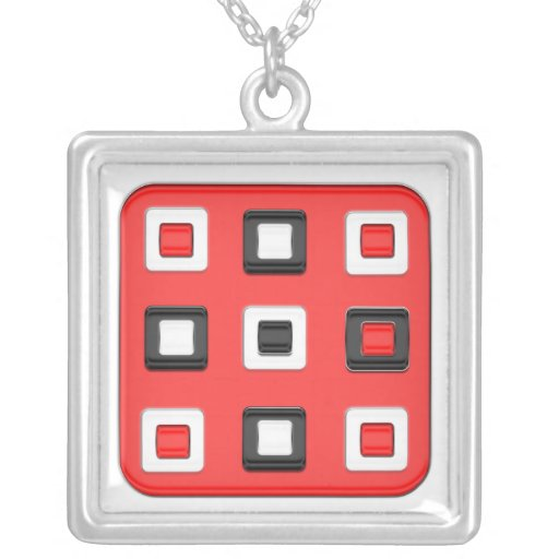 Big red square, little black & white squares jewelry