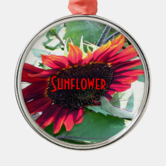Big Red Sunflower Christmas Ornament