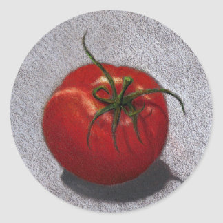 BIG RED TOMATO ART CLASSIC ROUND STICKER
