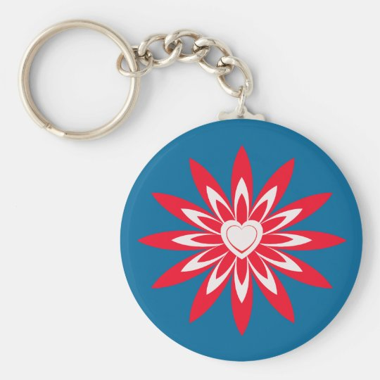 Big red & white flower with heart on blue basic round button key ring
