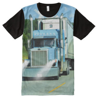Big Rig Freezer Lorry Truck-Driver Art Shirt All-Over Print T-Shirt