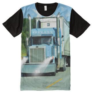 Big Rig Freezer Lorry Truck-Driver Art Shirt All-Over Print T-Shirt