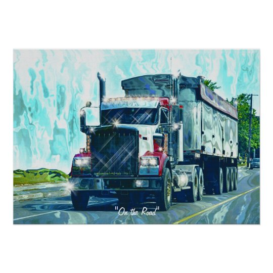 Big Rig Red Freight Truck Driver's Art Poster