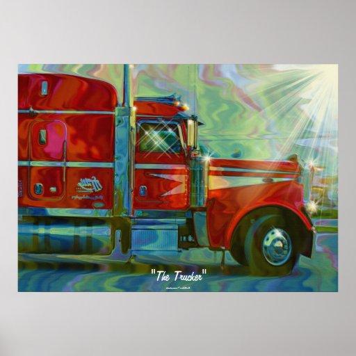 Big Rig Red FreightlinerTruck Driver's  Art Poster
