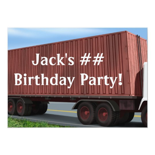 Big Rig Semi Truck Birthday Party Invitations
