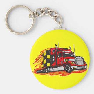 Big Rig Truck Basic Round Button Key Ring