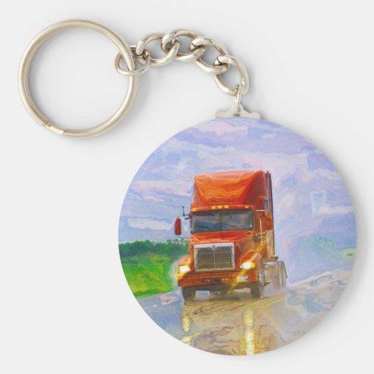Big Rig Truck Drivers Truckin' Key-Chains Basic Round Button Key Ring