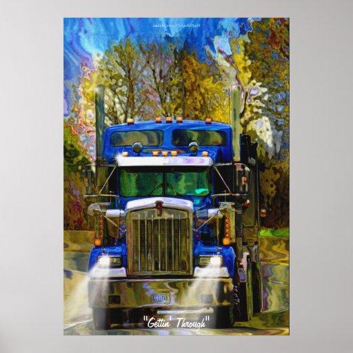 Big Rig Truck Highway Driving Transport Art Poster