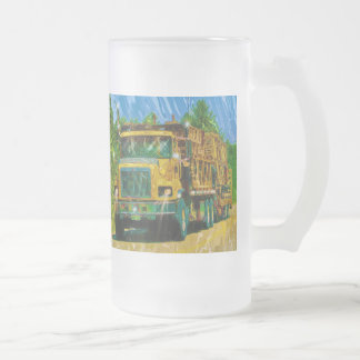 Big Rig Trucker's Lorry Design for Truck-lovers Frosted Glass Mug