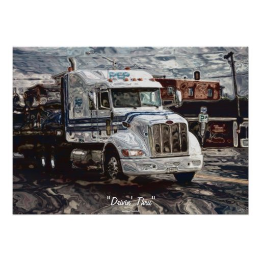 Big Rig White Freight Truck Driver's Art Poster