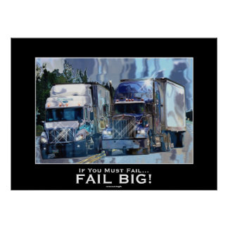BIG RIGS About To COLLIDE Modern Art Poster