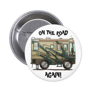 Big RV Camper On The Road Pins Buttons