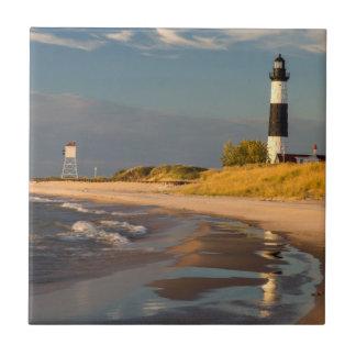 Big Sable Point Lighthouse On Lake Michigan 2 Small Square Tile