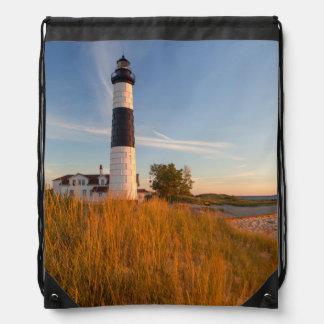 Big Sable Point Lighthouse On Lake Michigan 3 Drawstring Bags