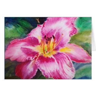 Big Shiny Pink Flower Greeting Card