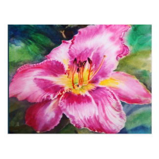 Big Shiny Pink Flower Postcard