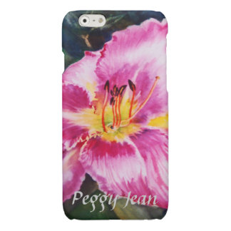 Big Shiny Pink Flower with Your Name iPhone 6 Plus Case