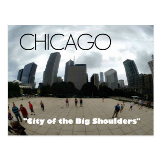 """Big Shoulders"" Chicago--Sandburg-themed postcard"