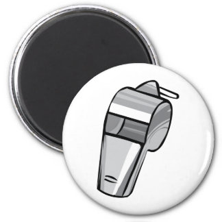 Big Silver Whistle 6 Cm Round Magnet