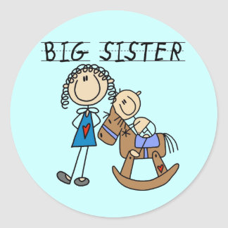 Big Sister Baby Brother T-shirts and Gifts Round Sticker