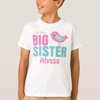 Big Sister Bird Pink Teal Personalized shirt