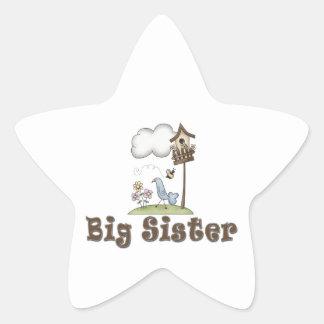 Big Sister Birdhouse Star Sticker