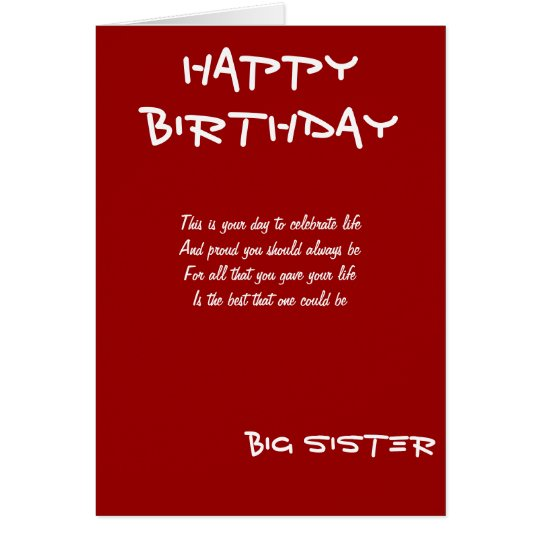 Big sister birthday greeting cards