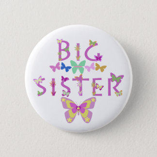 Big Sister, butterflies & flowers button