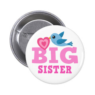 Big sister button with cute cartoon bird and heart