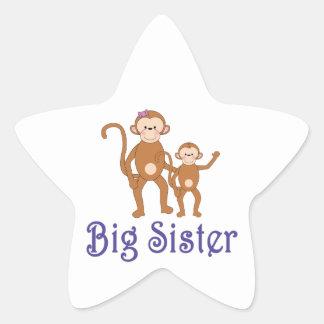 Big Sister Cute Monkeys 2 Star Sticker