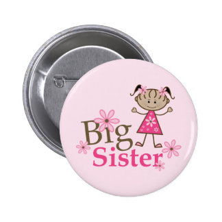 Big Sister Ethnic Stick Figure Girl Button