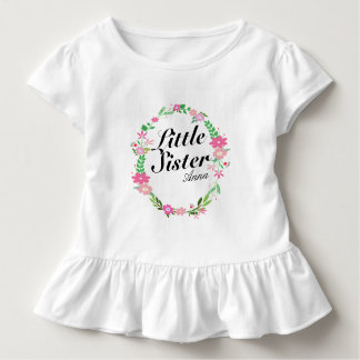 Big Sister florals wreath Name Toddler T-Shirt