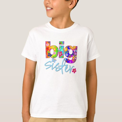 big sister flower back t shirt