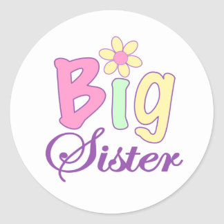 Big sister flower round stickers