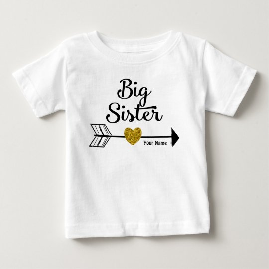 Big Sister Gold Arrow Personalised Shirt