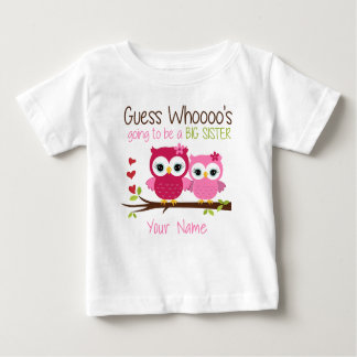 Big Sister Guess Who Pink Owl Personalized T Shirt