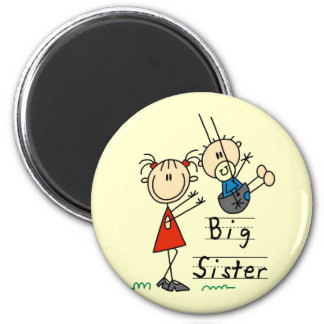 Big Sister Little Brother T-shirts and Gifts 6 Cm Round Magnet