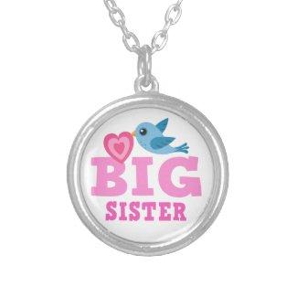 Big sister necklace, cute cartoon bird with heart